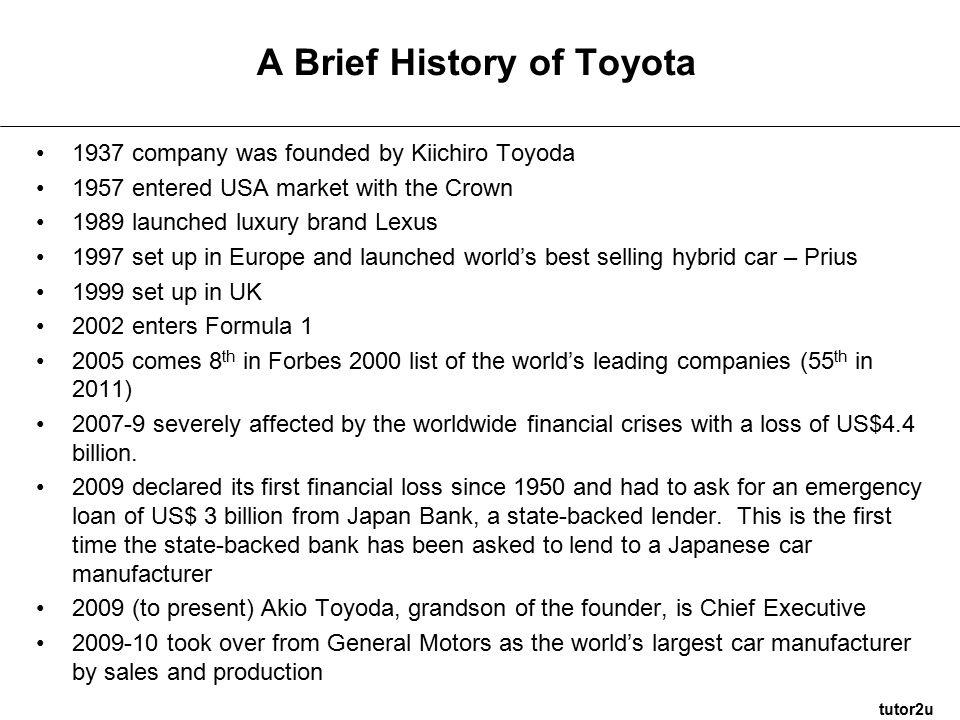 toyota history summary