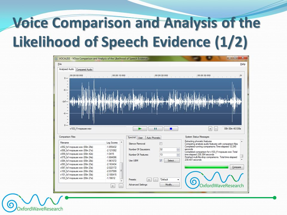 Voice Comparison and Analysis of the Likelihood of Speech Evidence (1/2)