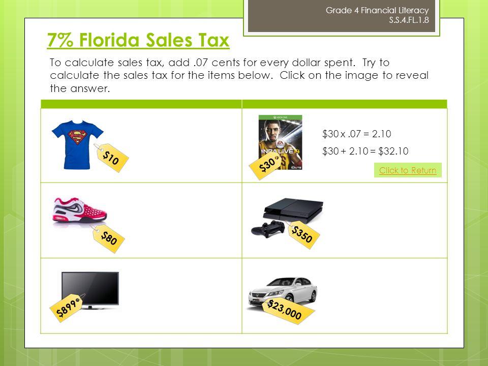 7 florida sales tax 10 grade 4 financial literacy ss4fl18