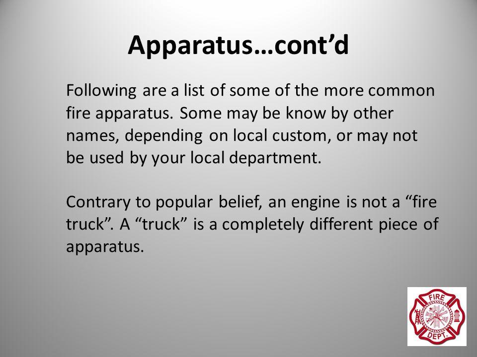 Fire Service Apparatus, Equipment & Terminology  Apparatus