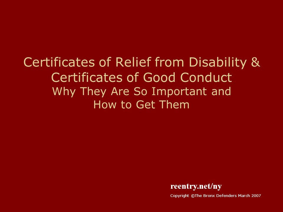 Certificates of Relief from Disability & Certificates of Good ...