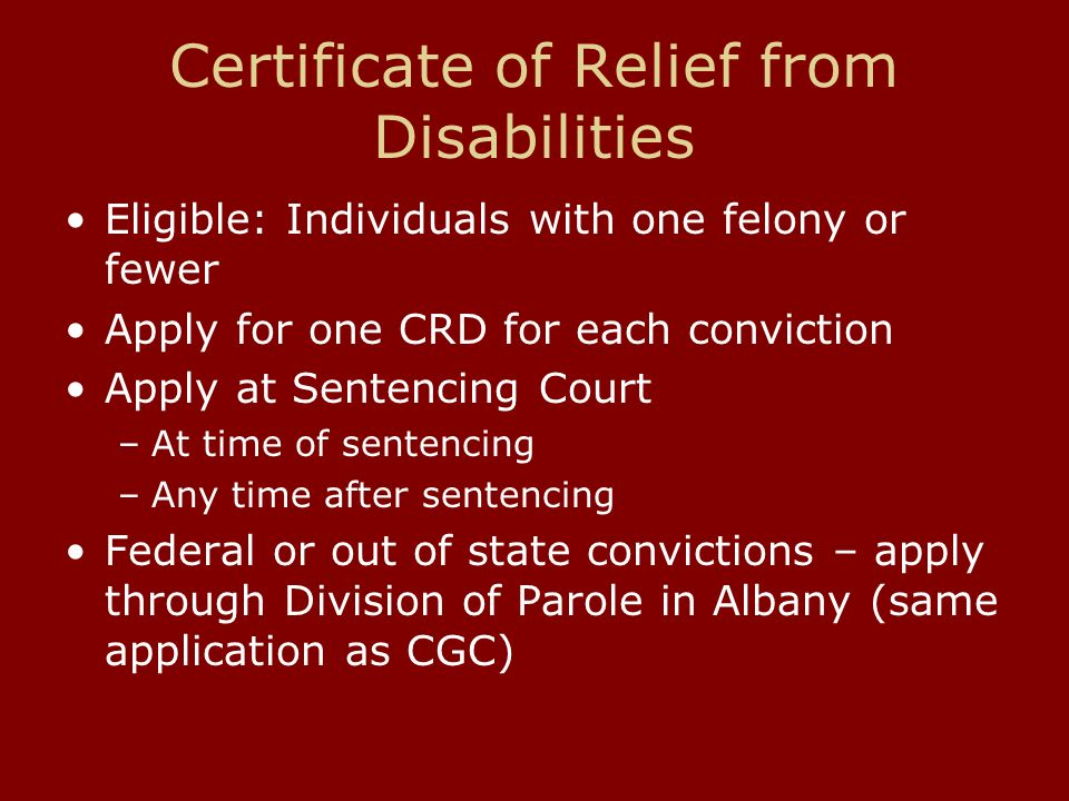 Certificates Of Relief From Disability Certificates Of Good