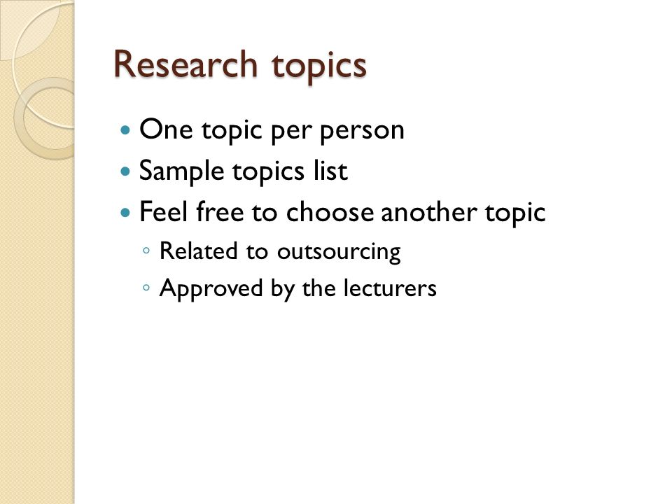 outsourcing research topics