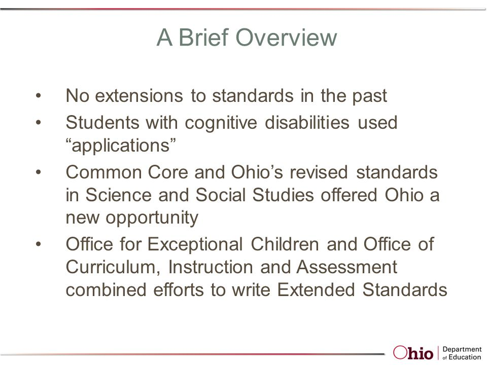 Spring 2012 Ohio's Academic Content Standards - Extended for