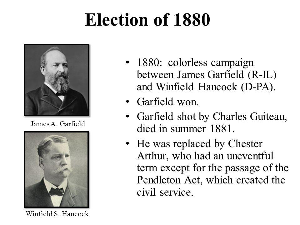 Image result for James Garfield (R) defeats Winfield Hancock (D)