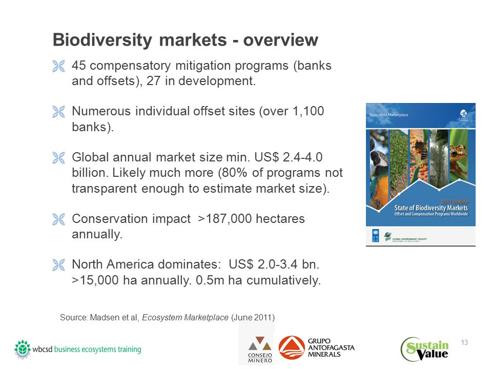 13 Biodiversity markets - overview  45 compensatory mitigation programs (banks and offsets), 27 in development.