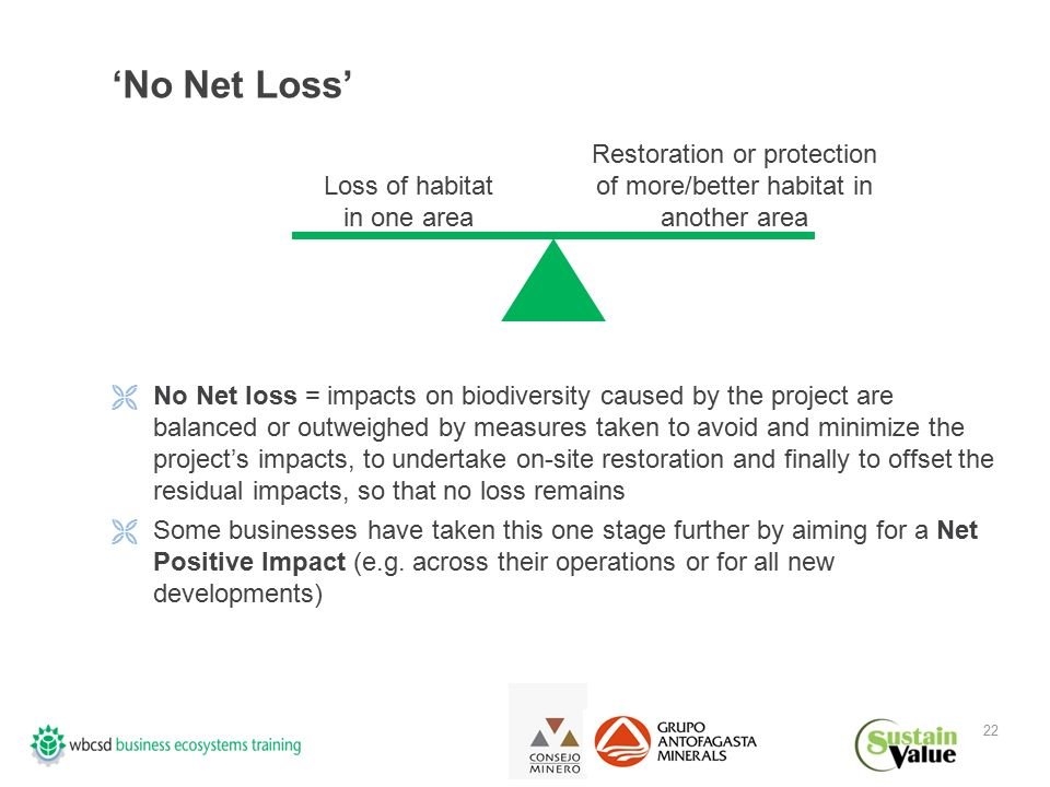22 'No Net Loss'  No Net loss = impacts on biodiversity caused by the project are balanced or outweighed by measures taken to avoid and minimize the project's impacts, to undertake on-site restoration and finally to offset the residual impacts, so that no loss remains  Some businesses have taken this one stage further by aiming for a Net Positive Impact (e.g.