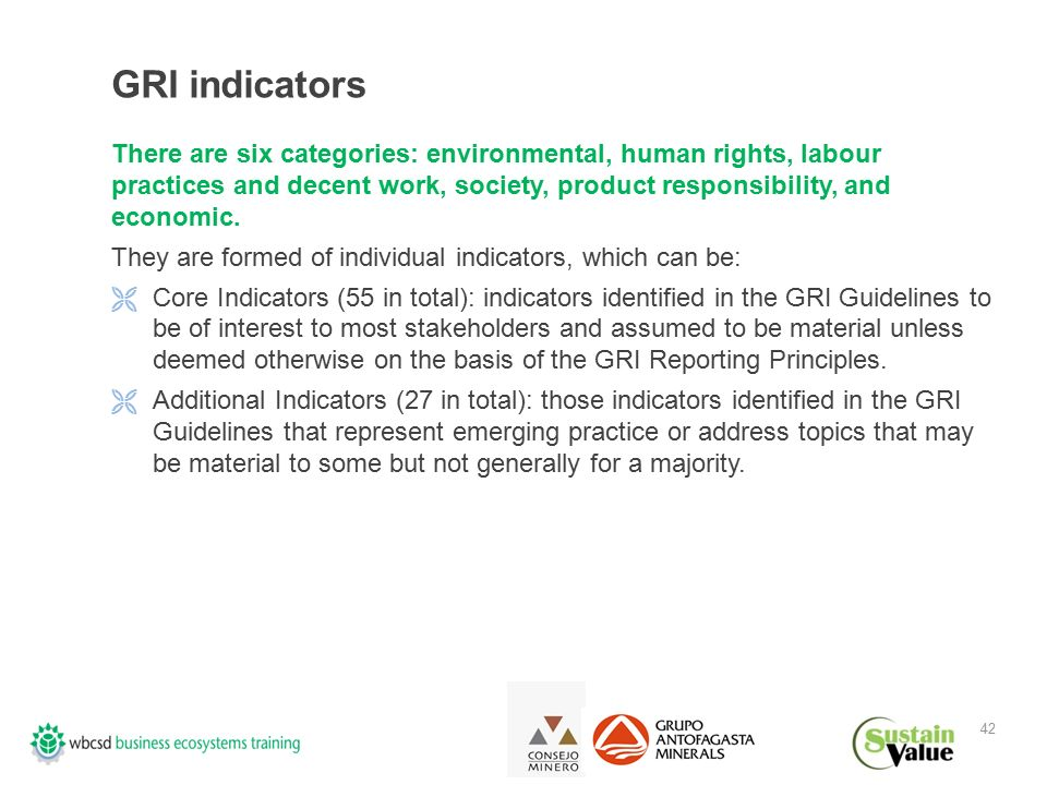 42 GRI indicators There are six categories: environmental, human rights, labour practices and decent work, society, product responsibility, and economic.