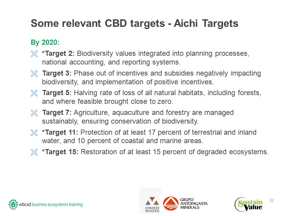52 Some relevant CBD targets - Aichi Targets By 2020:  *Target 2: Biodiversity values integrated into planning processes, national accounting, and reporting systems.