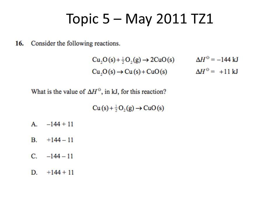Topic 5 Past Paper Questions Review for IB Chemistry Exam