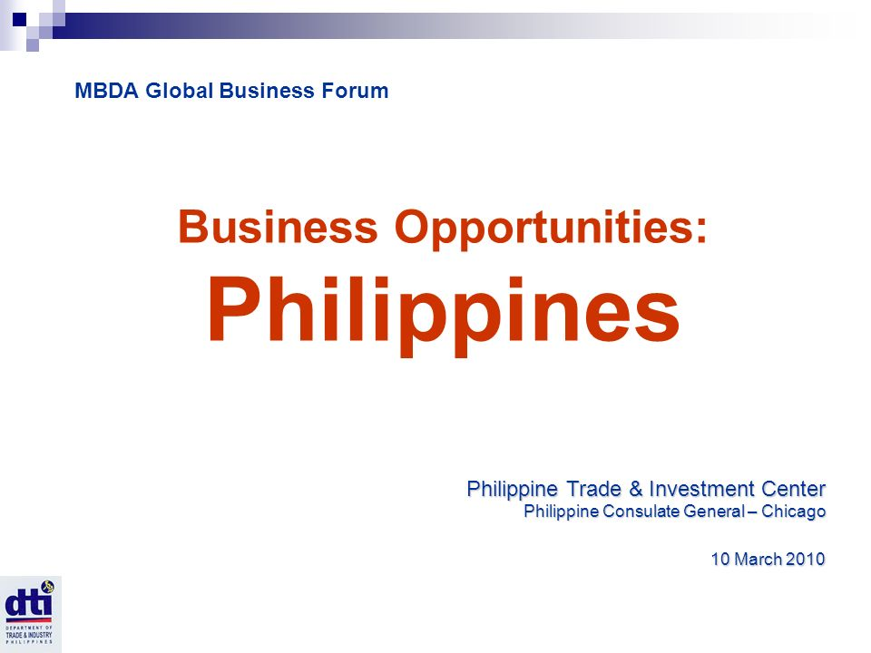 Business Opportunities: Philippines Philippine Trade