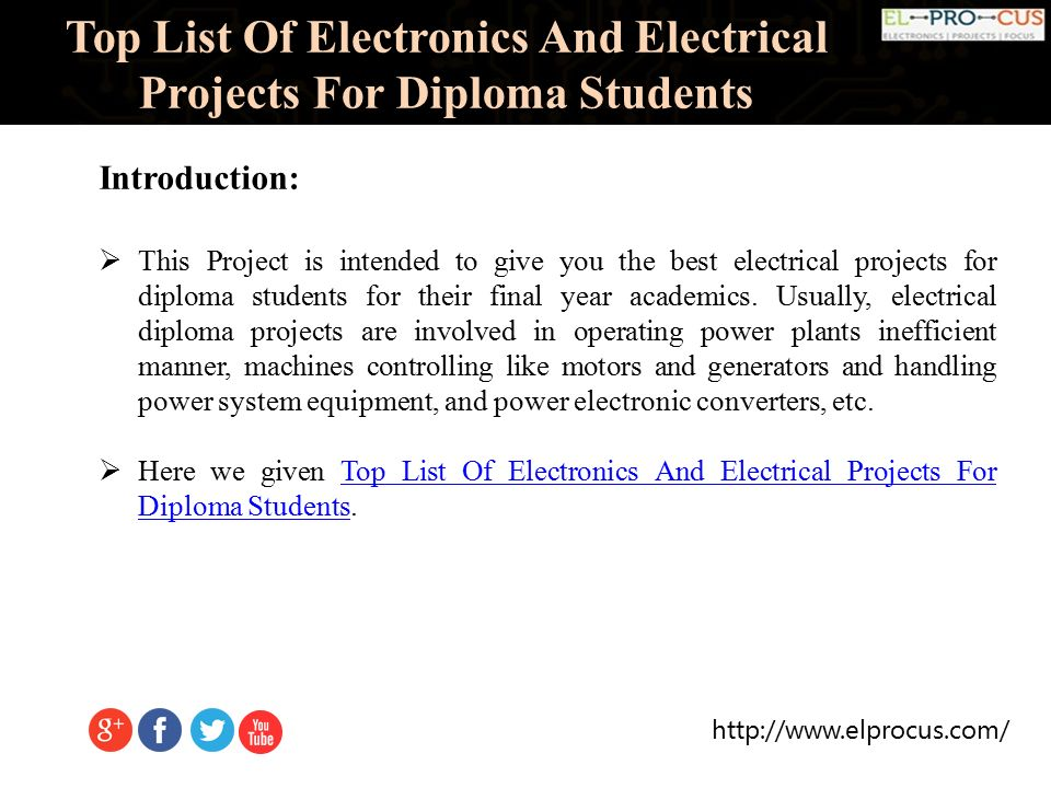 Top List Of Electronics And Electrical Projects For Diploma Students