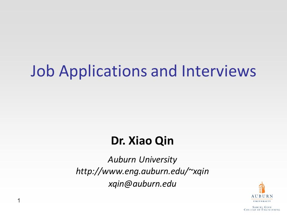 1 Job Applications and Interviews Dr.