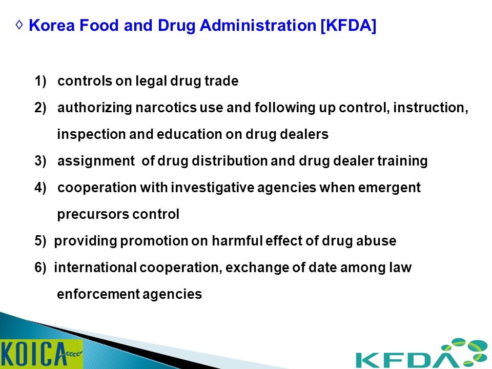 Efforts to Control Narcotics Narcotics Control Division Korea Food