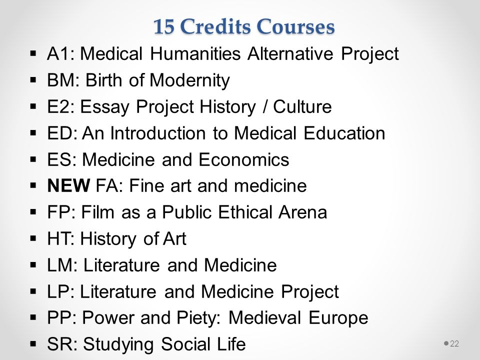 1  Introduction to Medical Humanities Student Selected