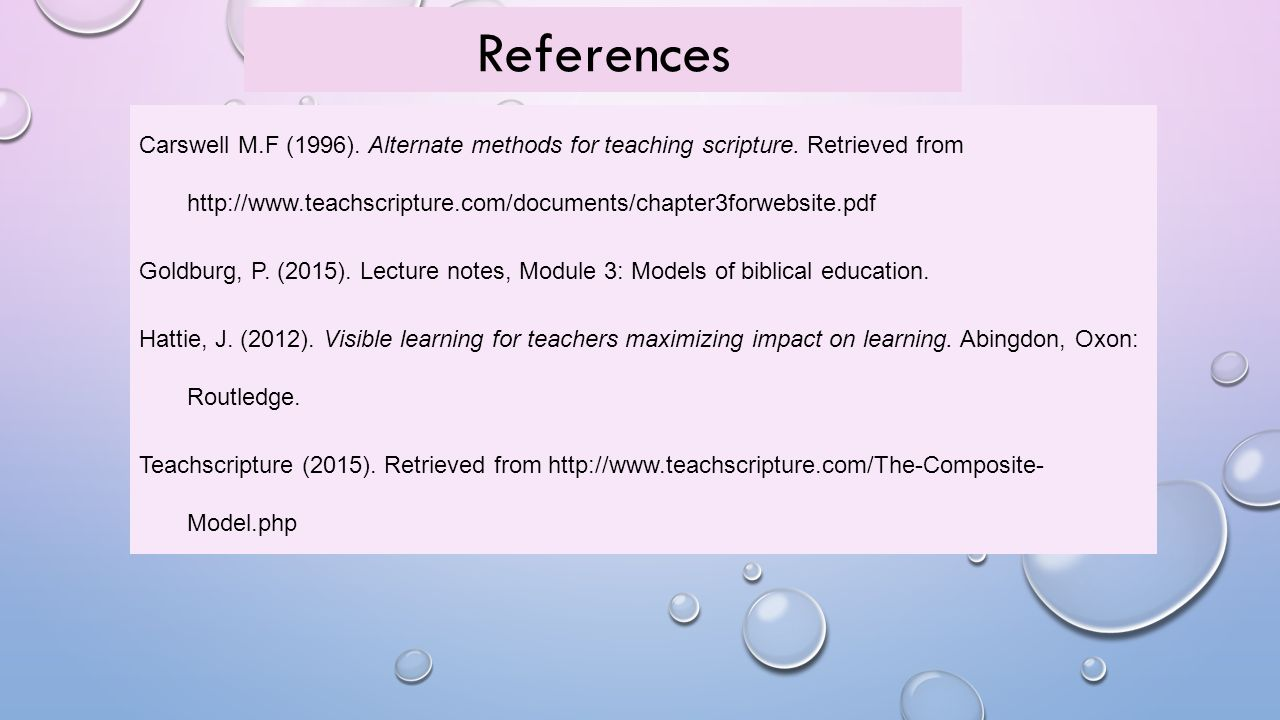 References Carswell M.F (1996). Alternate methods for teaching scripture.