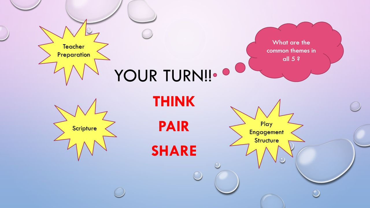 YOUR TURN!. THINK PAIR SHARE What are the common themes in all 5 .