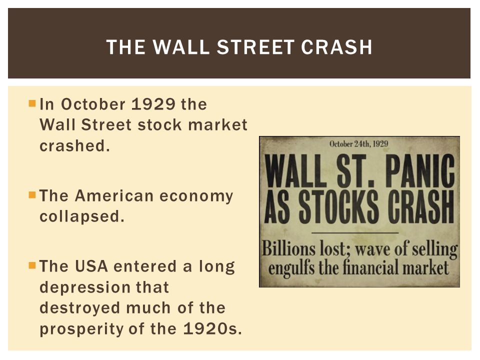 the great wall street crash The wall street crash of 1929 was the greatest stock market crash in the history of the united states it happened in the new york stock exchange on tuesday october 29, 1929, now known as black tuesday.