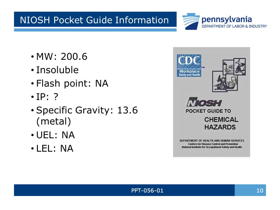 mercury awareness and safety ppt bureau of workers comp pa training rh slideplayer com NIOSH Standards NIOSH Rating