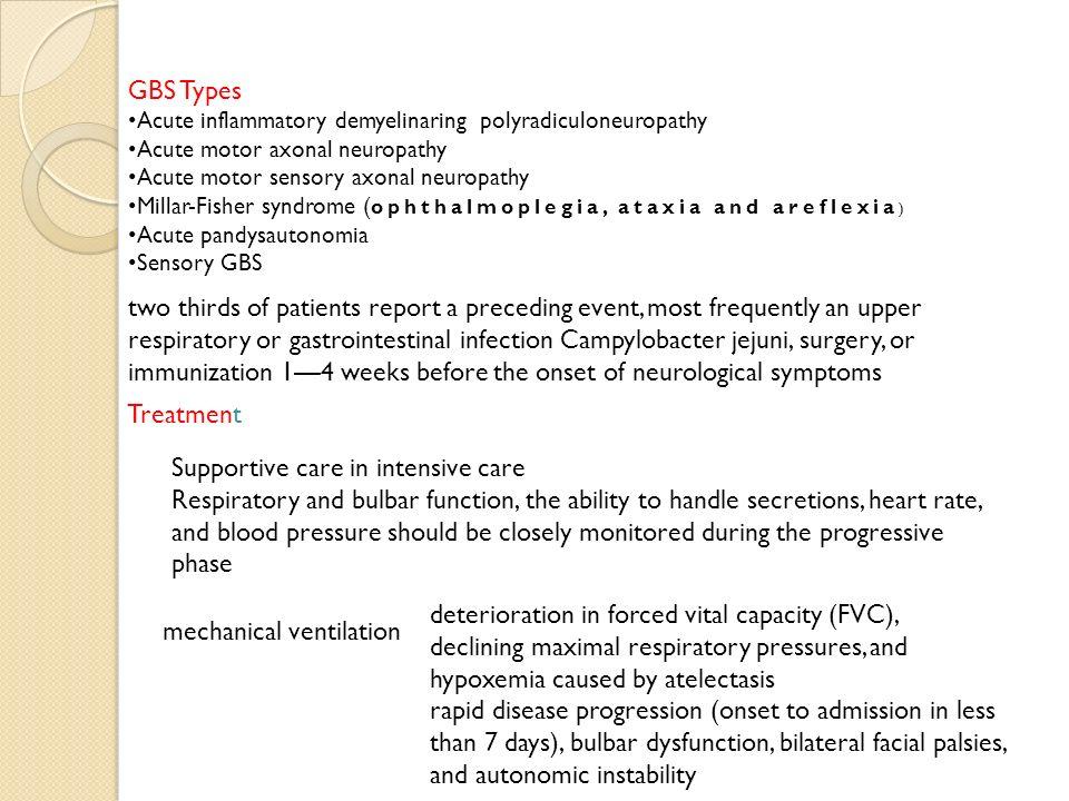14 GBS Types Acute inflammatory demyelinaring polyradiculoneuropathy Acute motor axonal neuropathy ...