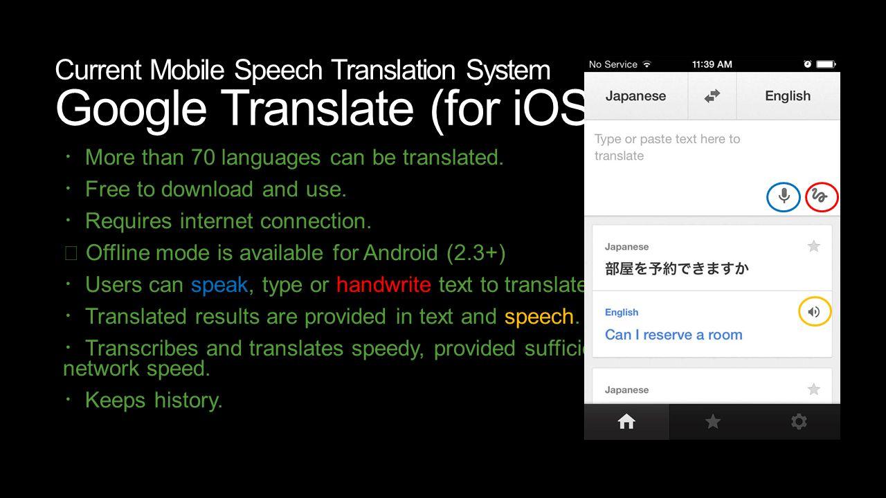 Mobile Speech Translation Systems Design for /19/2013