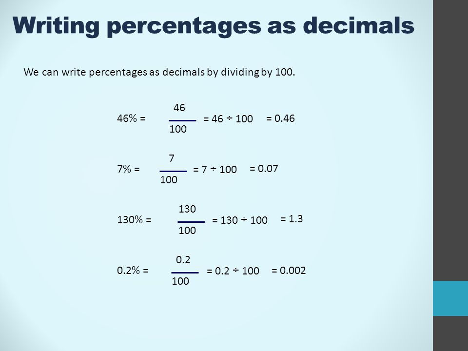 Writing Percentages As Decimals We Can Write Percentages As Decimals By Dividing By 100