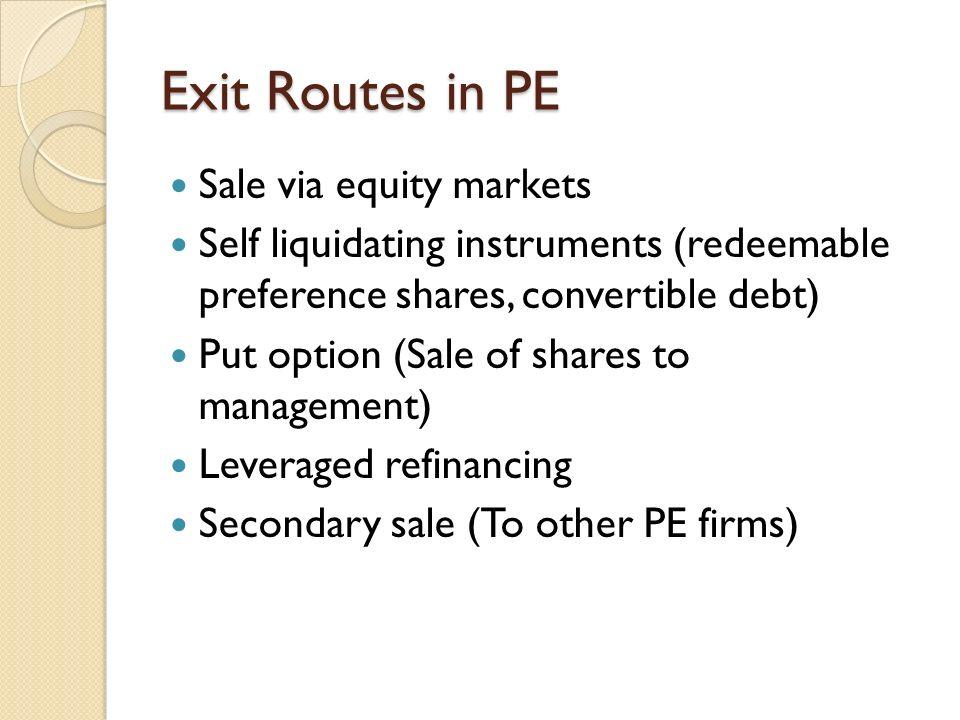 Self liquidating equity