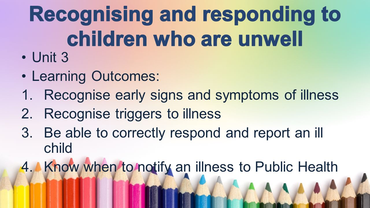 Unit 3 Learning Outcomes 1 Recognise Early Signs And Symptoms Of