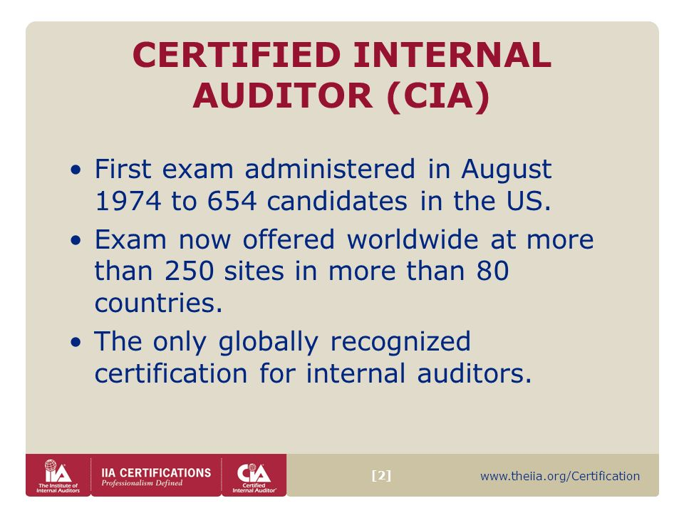 2 Certified Internal Auditor Cia First Exam Administered In