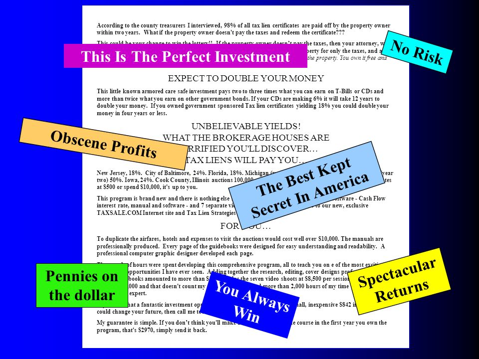 Investing In Tax Lien Certificates Investing In Tax Lien