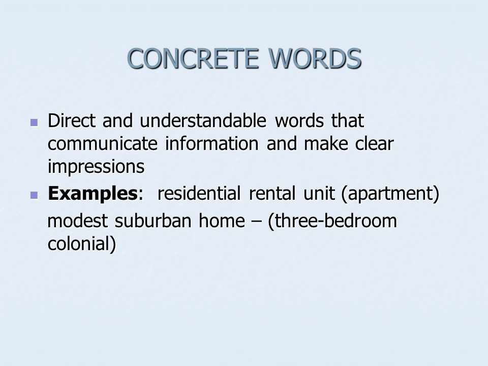concrete words examples