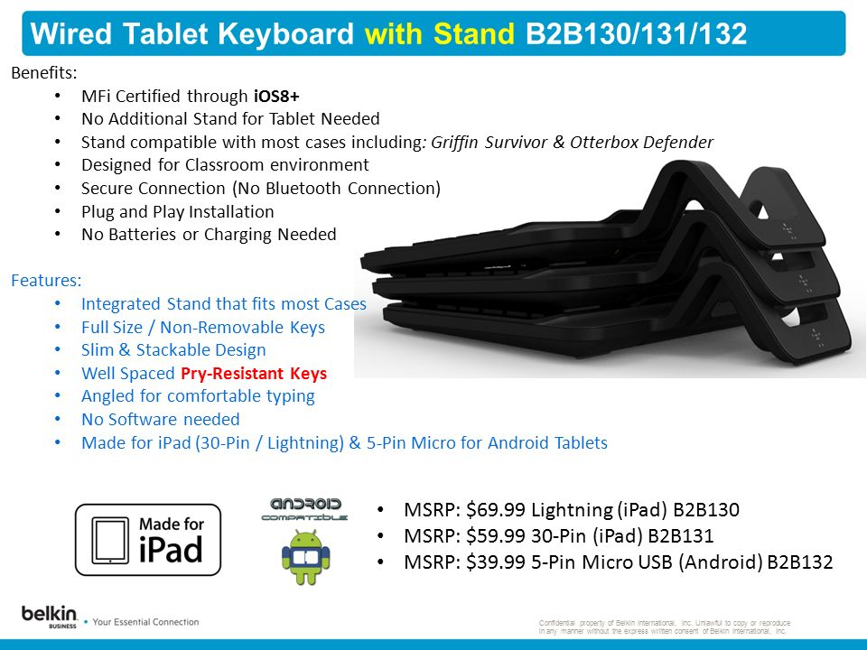 Wired Tablet Keyboard with Stand B2B130/131/132 Confidential property of Belkin International, Inc.