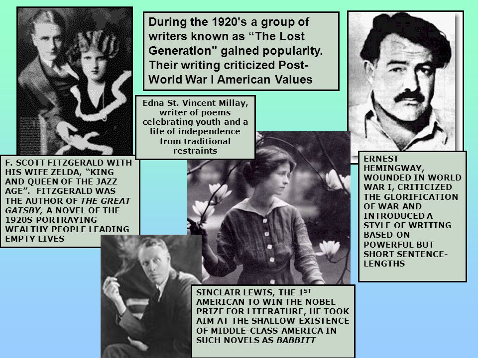 The Lost Generation 1920s American Writers