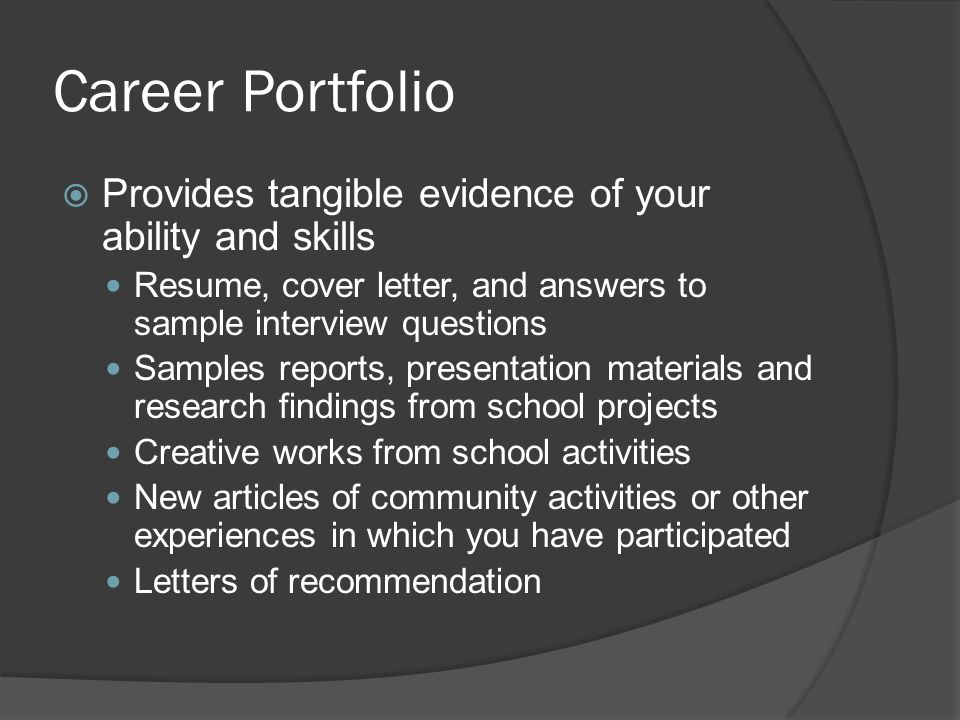 chapter 9 career portfolio provides tangible evidence of your