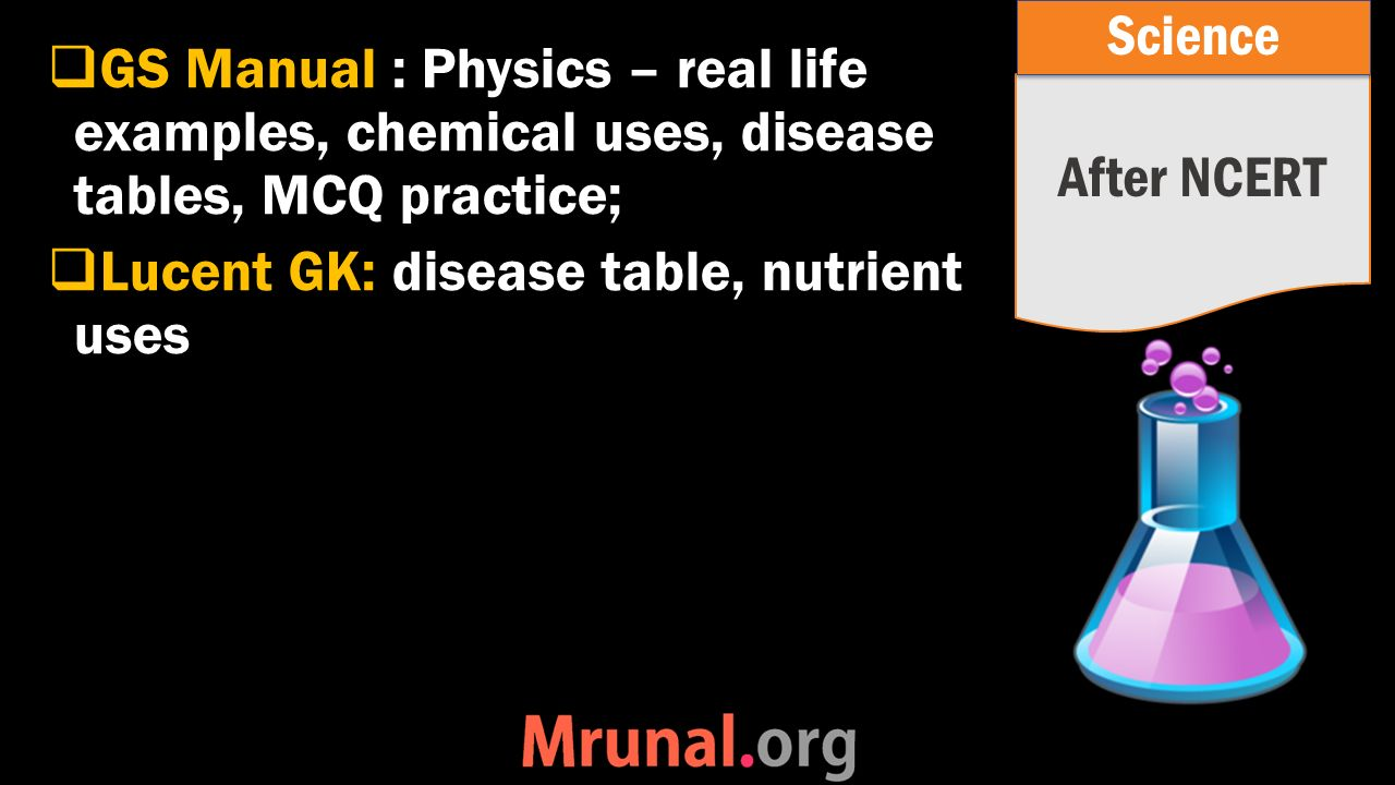  GS Manual : Physics – real life examples, chemical uses, disease tables, MCQ practice;  Lucent GK: disease table, nutrient uses After NCERT Science
