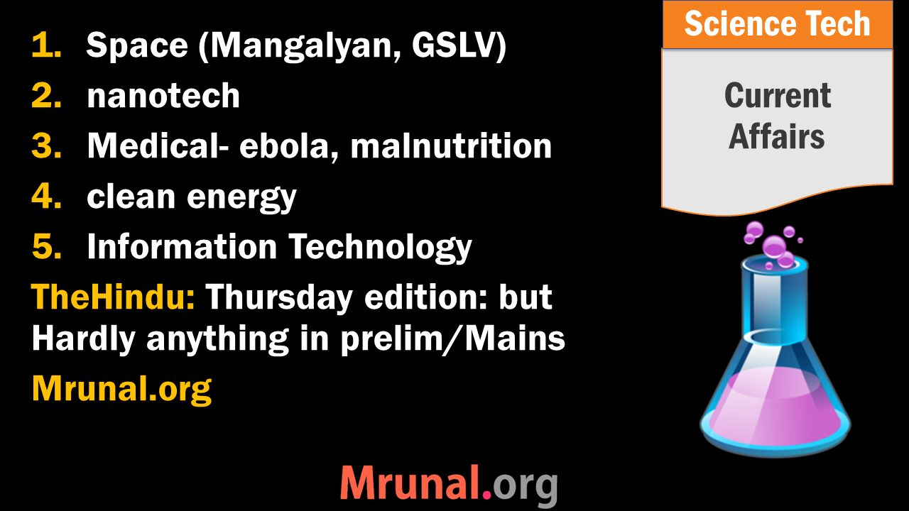 1.Space (Mangalyan, GSLV) 2.nanotech 3.Medical- ebola, malnutrition 4.clean energy 5.Information Technology TheHindu: Thursday edition: but Hardly anything in prelim/Mains Mrunal.org Current Affairs Science Tech