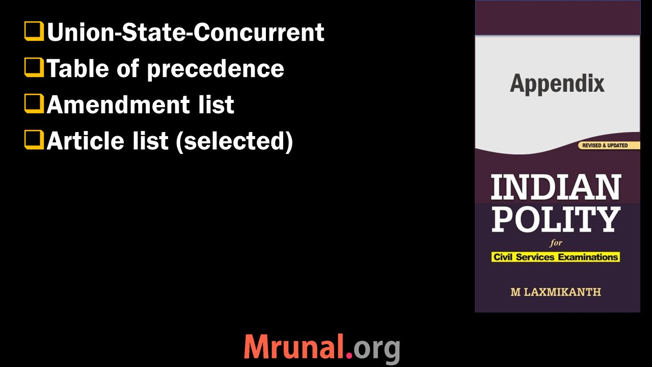  Union-State-Concurrent  Table of precedence  Amendment list  Article list (selected) Appendix