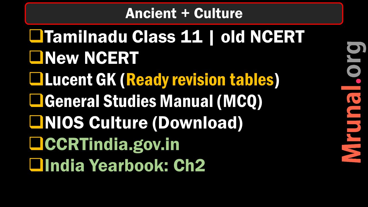  Tamilnadu Class 11 | old NCERT  New NCERT  Lucent GK (Ready revision tables)  General Studies Manual (MCQ)  NIOS Culture (Download)  CCRTindia.gov.in  India Yearbook: Ch2 Ancient + Culture
