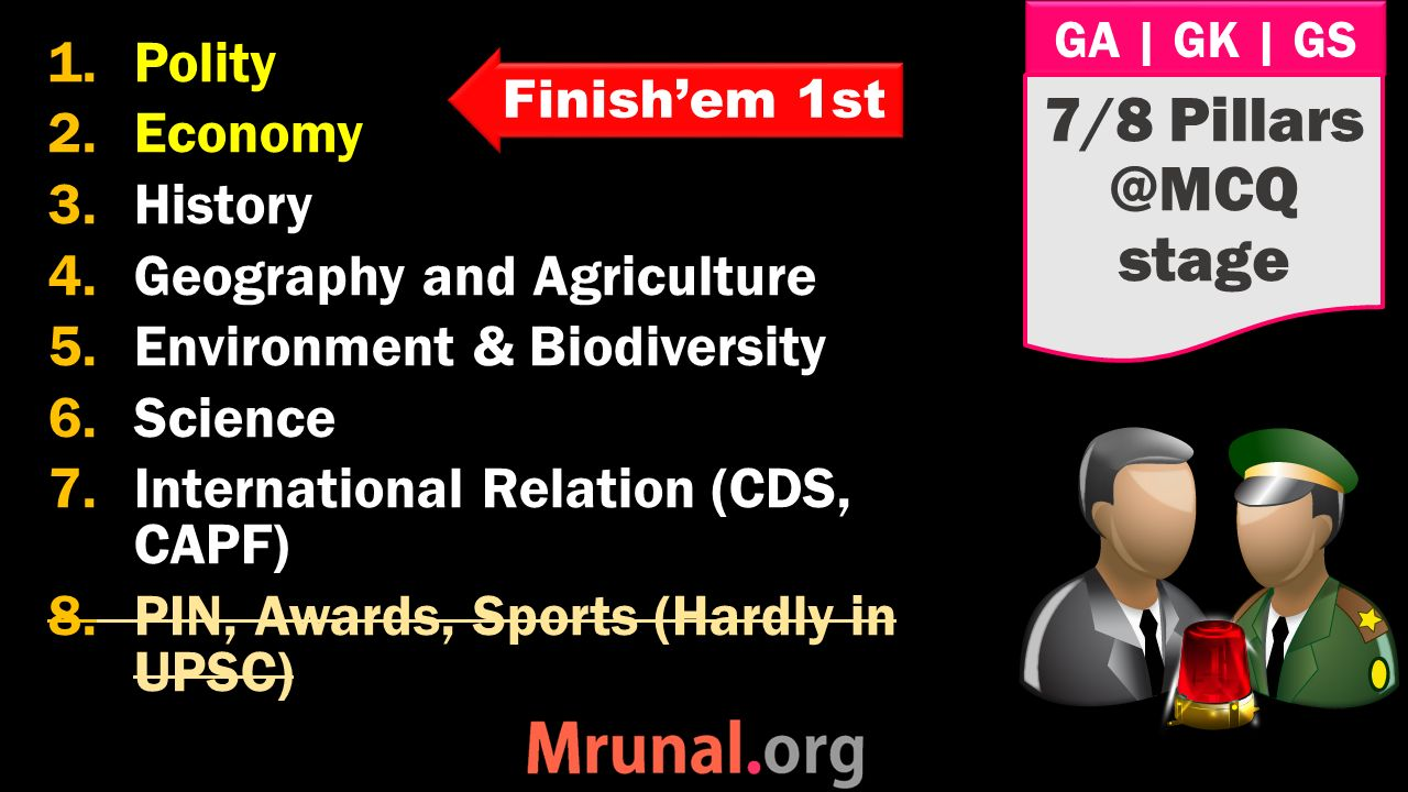 GA | GK | GS 1.Polity 2.Economy 3.History 4.Geography and Agriculture 5.Environment & Biodiversity 6.Science 7.International Relation (CDS, CAPF) 8.PIN, Awards, Sports (Hardly in UPSC) 7/8 Pillars @MCQ stage Finish'em 1st