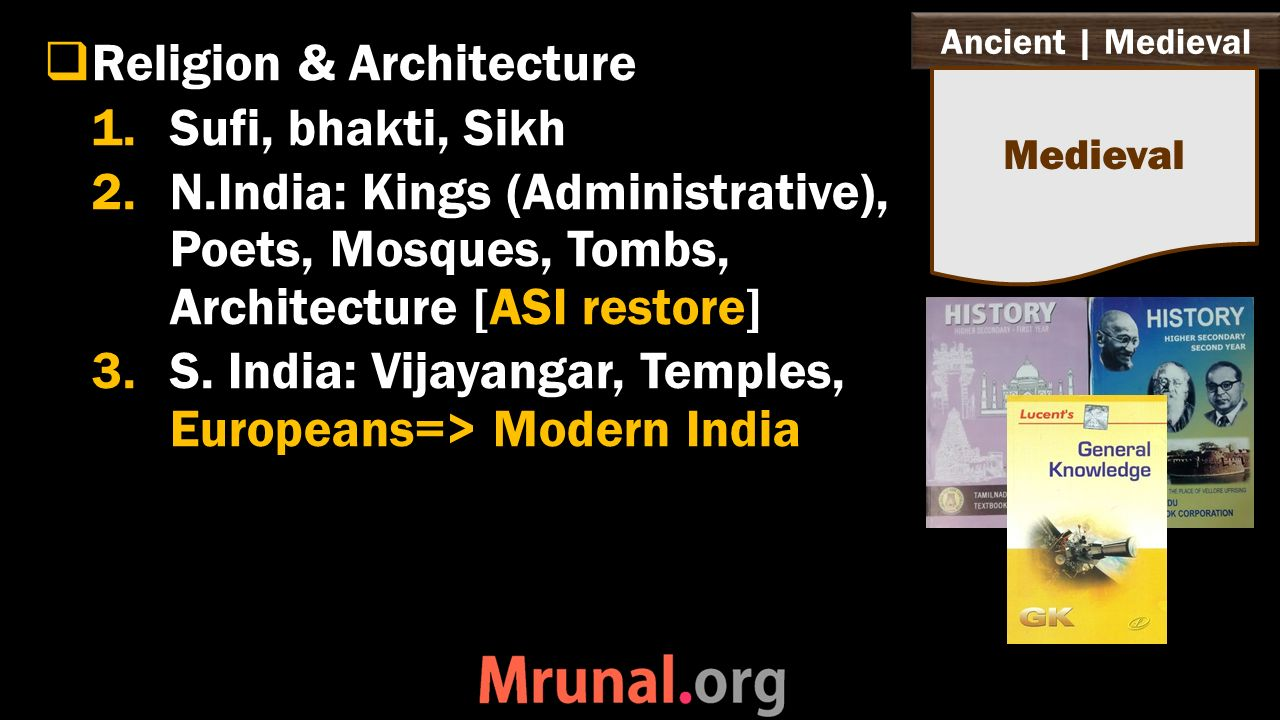 Ancient | Medieval  Religion & Architecture 1.Sufi, bhakti, Sikh 2.N.India: Kings (Administrative), Poets, Mosques, Tombs, Architecture [ASI restore] 3.S.