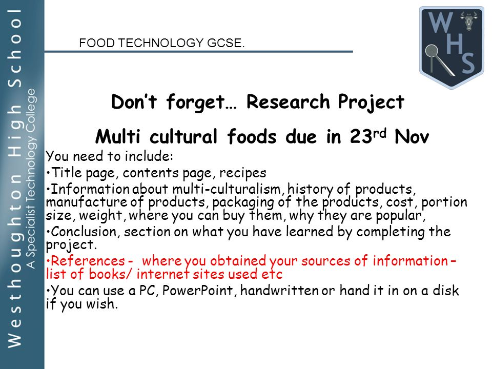 Demonstration plate pie year 9 food technology gcse ppt download food technology gcse dont forget research project multi cultural foods due in 23 rd nov you forumfinder Gallery