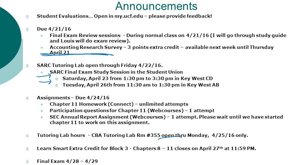 Announcements Student Evaluations Open In Myucfedu Please