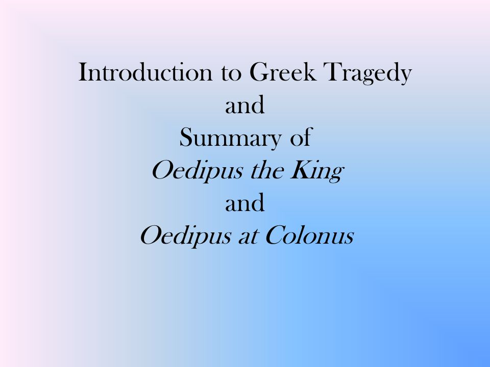 oedipus the king summary