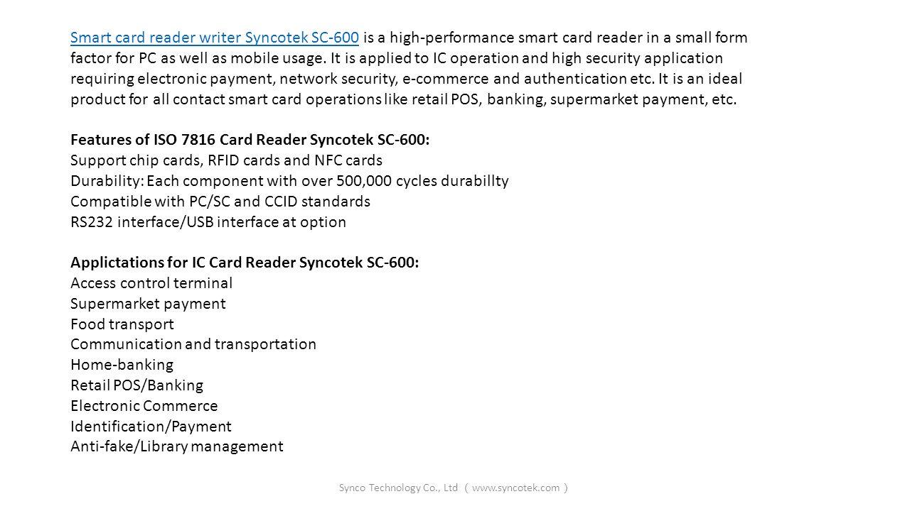 Credit Card Reader Writer Syncotek SC-600 Synco Technology