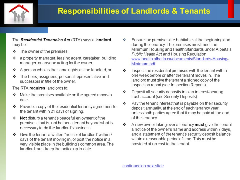 Quick Reference Guide The Residential Tenancies Act The Information