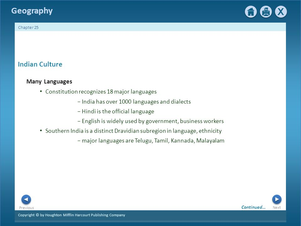 Copyright © by Houghton Mifflin Harcourt Publishing Company Next Previous Geography Chapter 25 Indian Culture Many Languages Constitution recognizes 18 major languages − India has over 1000 languages and dialects − Hindi is the official language − English is widely used by government, business workers Southern India is a distinct Dravidian subregion in language, ethnicity − major languages are Telugu, Tamil, Kannada, Malayalam Continued…