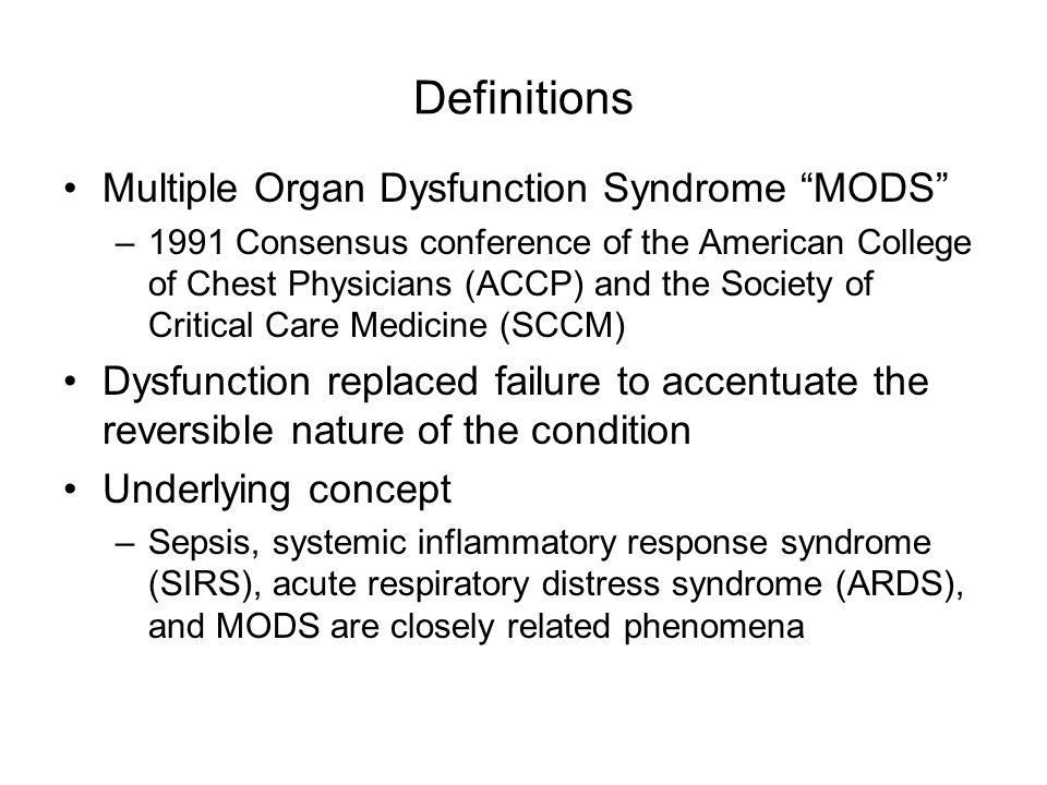 Multiple Organ Dysfunction Syndrome Definition Diagnosis