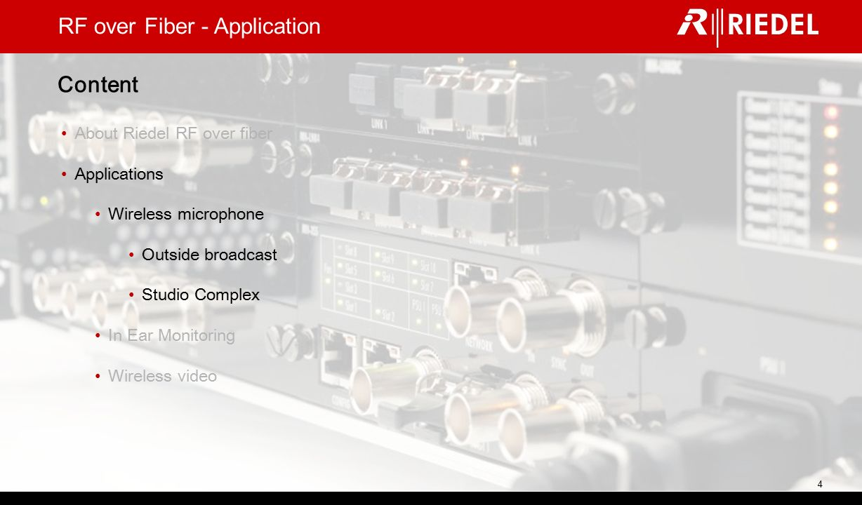 RF over Fiber - Application Riedel solutions for broadcast