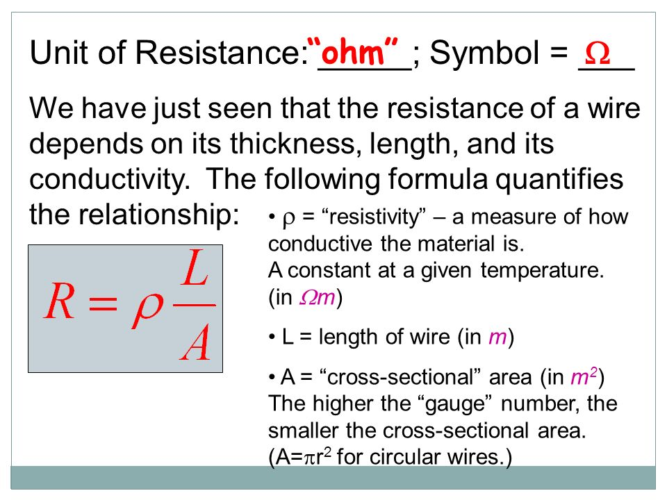 Ohms law and circuits current electricity electric current i unit of resistance symbol we have just seen that the resistance greentooth Image collections