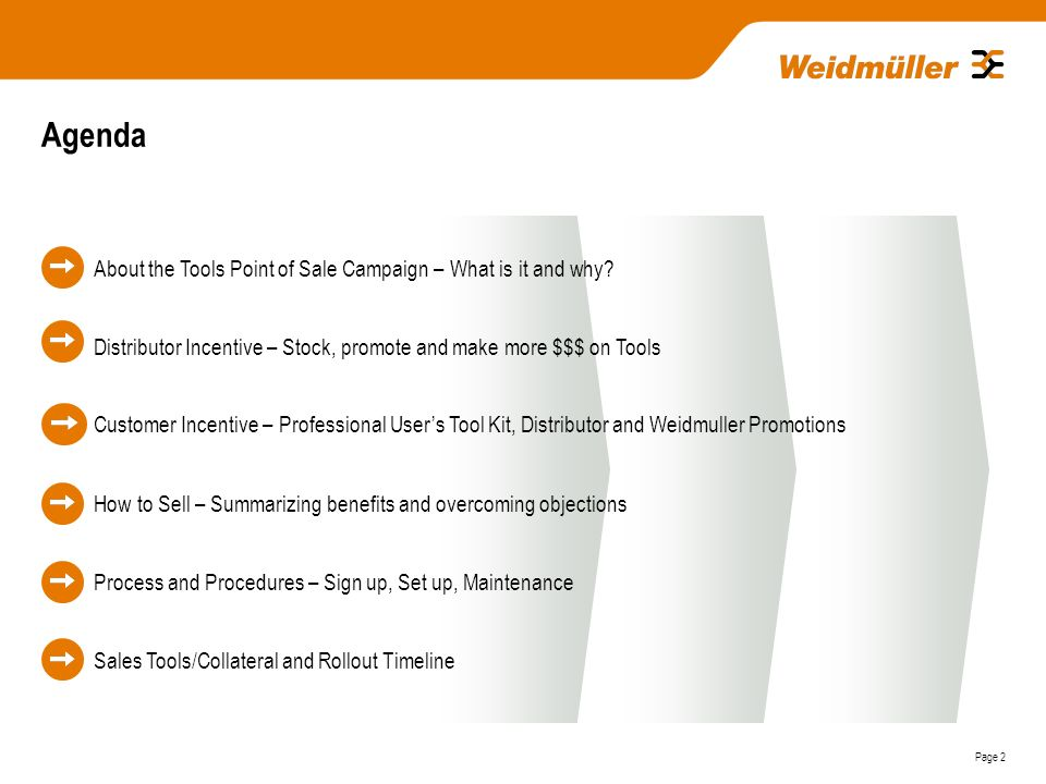 Tools Point of Sale Campaign Date: Ongong  Page 2 Agenda